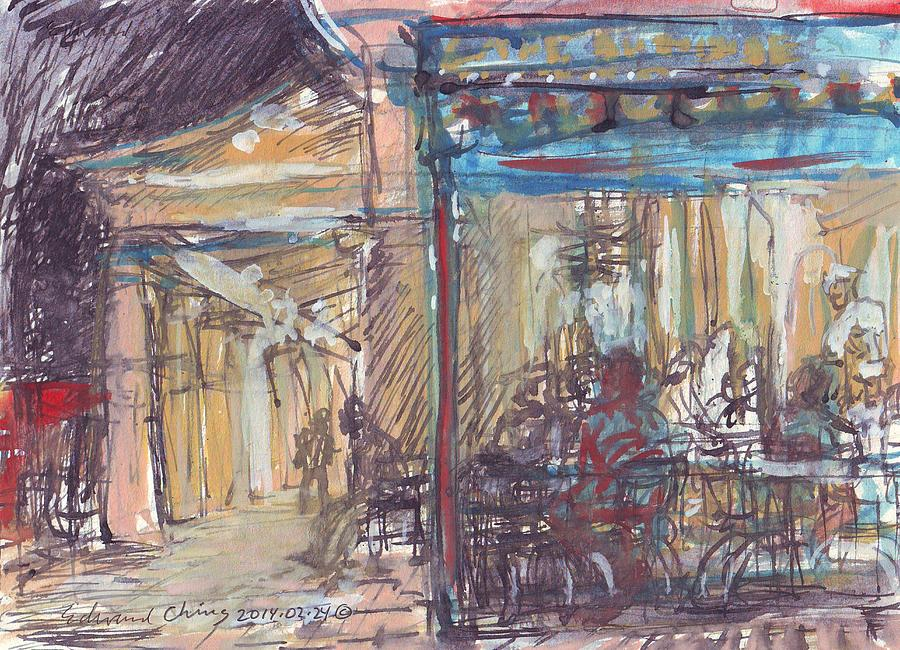 Jackson Drawing - Cafe Du Monde at Night by Edward Ching