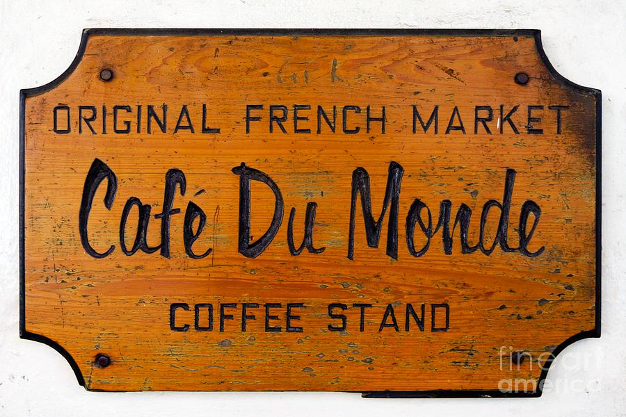 America Photograph - Cafe Du Monde Sign in New Orleans Louisiana by Paul Velgos