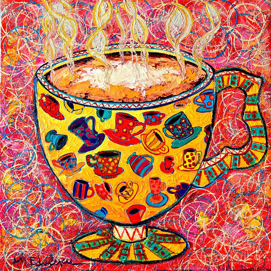 Coffee Painting - Cafe Latte - Coffee Cup With Colorful Coffee Cups Some Pink And Bubbles  by Ana Maria Edulescu