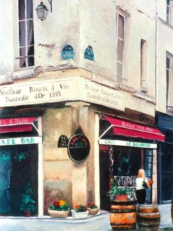 Paris Painting - Cafe Le Barometre In Paris by Jan Matson