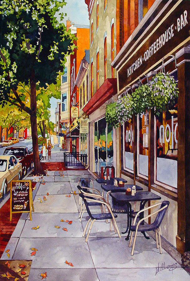 Watercolor Painting - Cafe Nola by Mick Williams