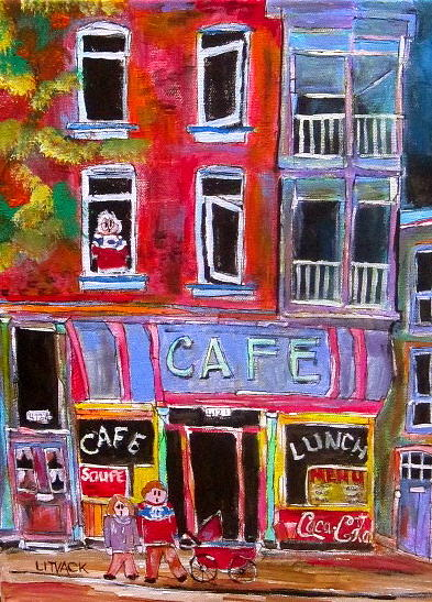 Montreal Painting - Cafe Notre Dame by Michael Litvack