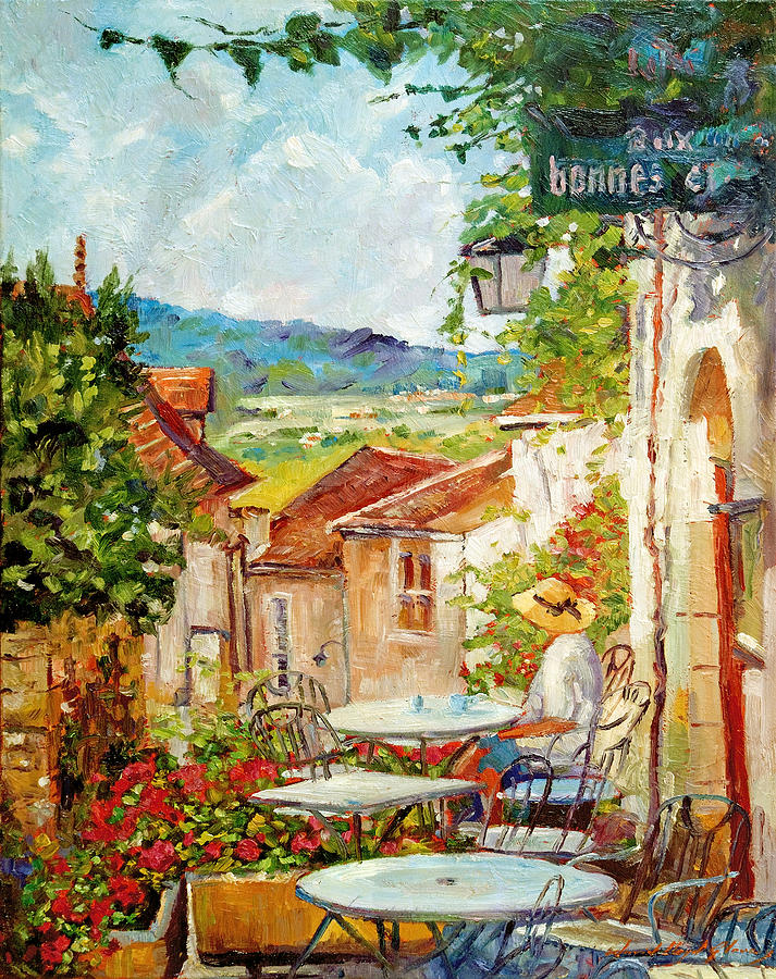 cafe provence morning painting by david lloyd glover. Black Bedroom Furniture Sets. Home Design Ideas