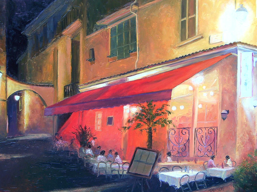 Cafe Painting - Cafe Scene Cannes France by Jan Matson