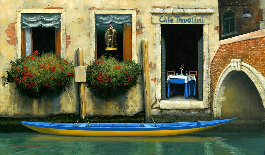 Venice Gondola Painting - Cafe Tavolini by Michael Swanson