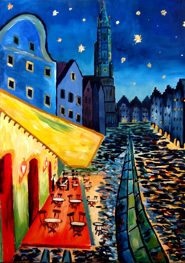 Cafe Terrace Painting - Cafe Terrace In Landshut - Inspired By Van Gogh by M Bleichner