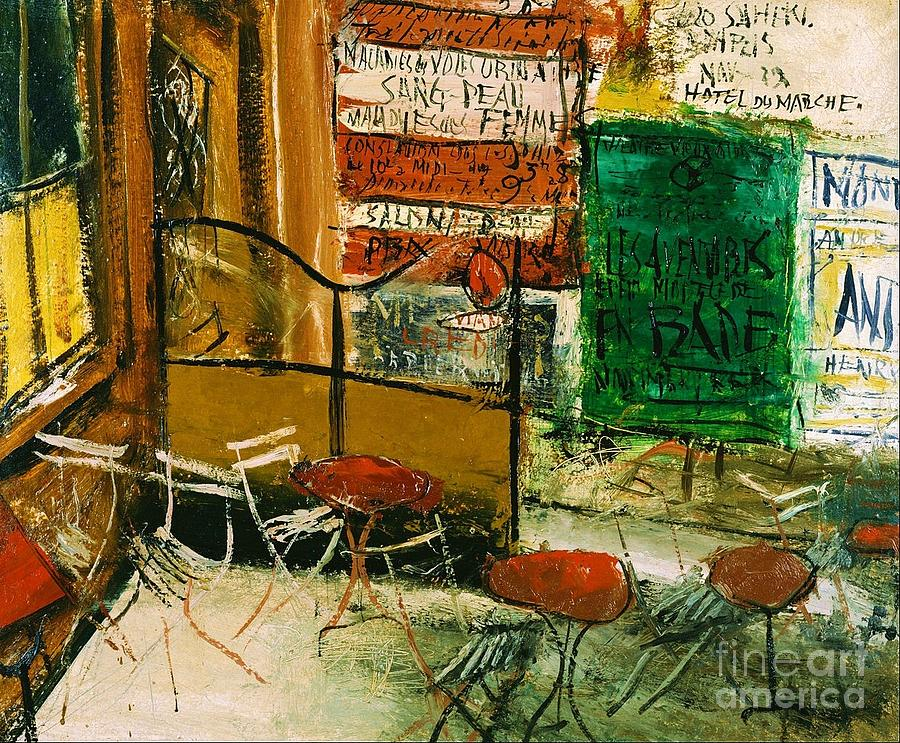 Pd Painting - Cafe Terrace With Posters by Pg Reproductions