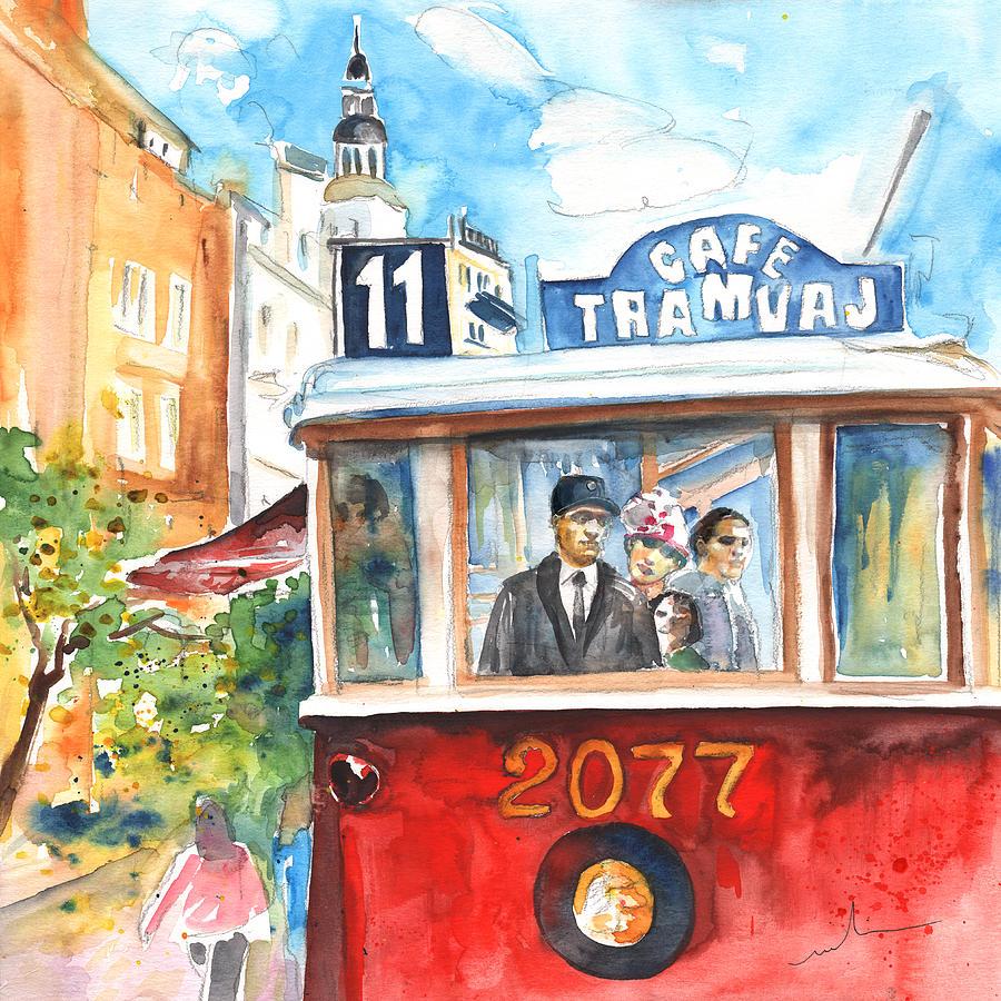 Czech Republic Painting - Cafe Tramvaj In Prague by Miki De Goodaboom
