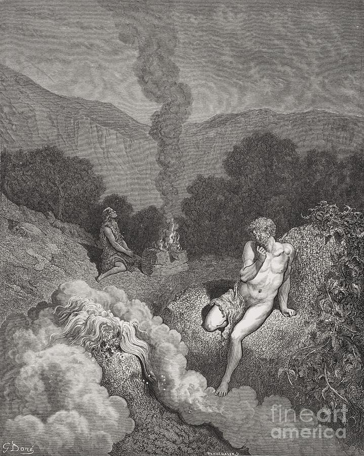 Brothers Painting - Cain And Abel Offering Their Sacrifices by Gustave Dore