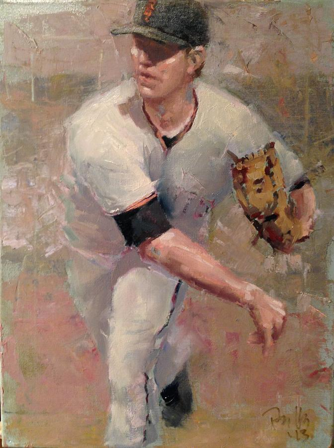 Matt Cain Painting - Cain Delivery by Darren Kerr