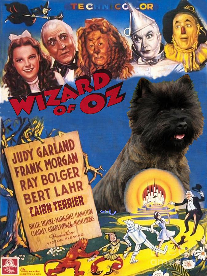 Cairn Terrier Painting - Cairn Terrier Art Canvas Print - The Wizard Of Oz Movie Poster by Sandra Sij