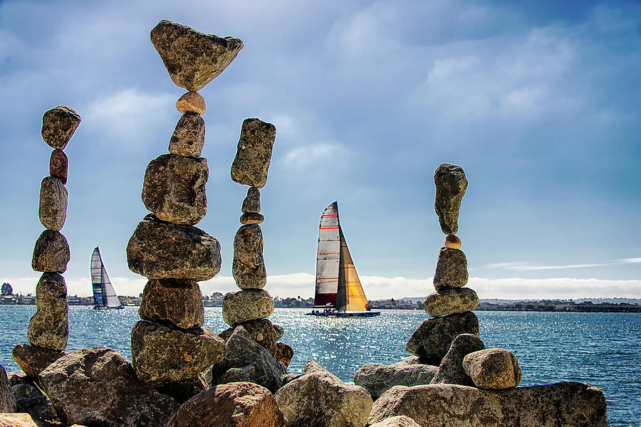 Cairns And Sailboats, Waterfront, San Photograph by Mscott-photography