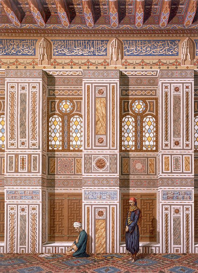 Interior Drawing - Cairo Interior Of The Mosque by Emile Prisse dAvennes