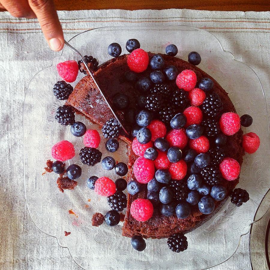 Cake With Berries Photograph by Shilpa Harolikar