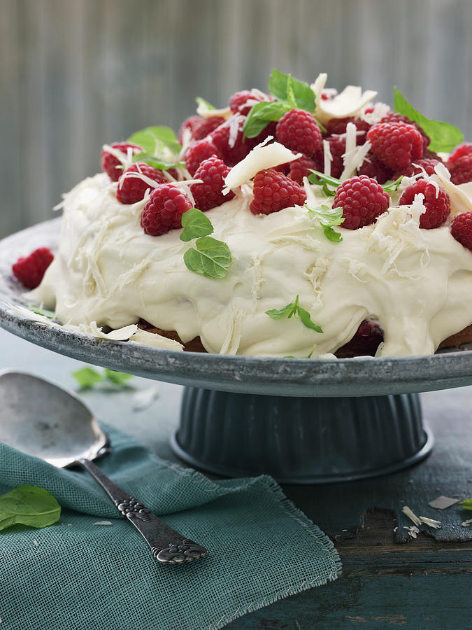 Cake With Raspberries, Sweden Photograph by Johner Images