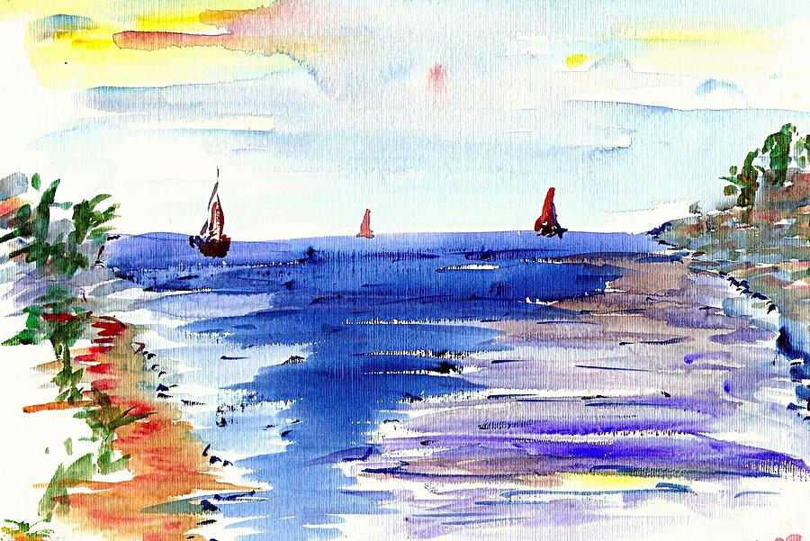 Sea Painting - Cala Gran Majorca by Anthony Fox