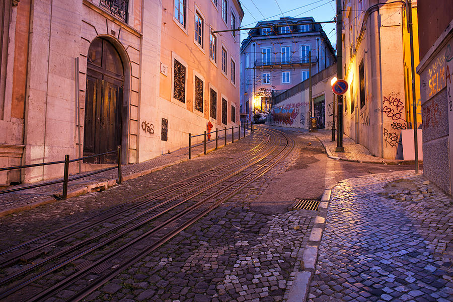 Lisbon Photograph - Calcada Da Gloria Street At Dusk In Lisbon by Artur Bogacki