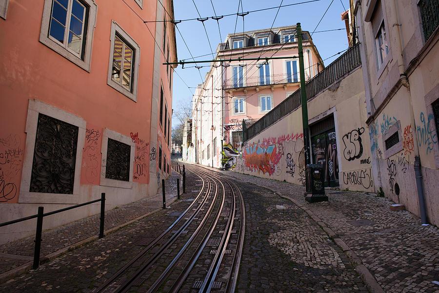 Lisbon Photograph - Calcada Da Gloria Street In Lisbon by Artur Bogacki