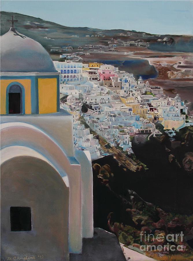 Santorini Painting - Caldera Church Santorini by Debra Chmelina