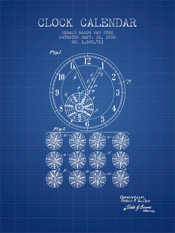Calender clock patent from 1926 blueprint digital art by aged pixel calendar digital art calender clock patent from 1926 blueprint by aged pixel malvernweather Image collections