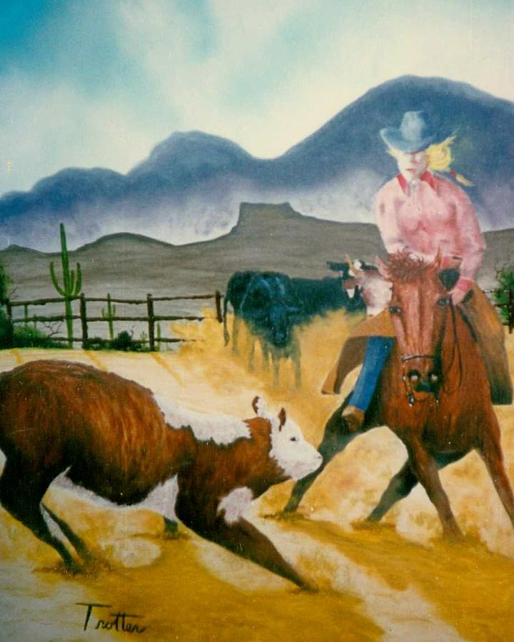 Calf Roping Painting - Making the Cut by Patrick Trotter