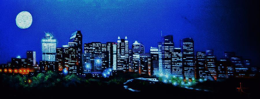 7d3a8f435 Calgary Painting - Calgary Canada In Black Light by Thomas Kolendra