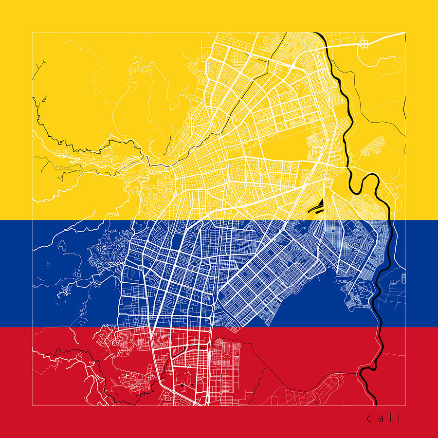 Cali Street Map - Cali Colombia Road Map Art On Flag Digital Art by on