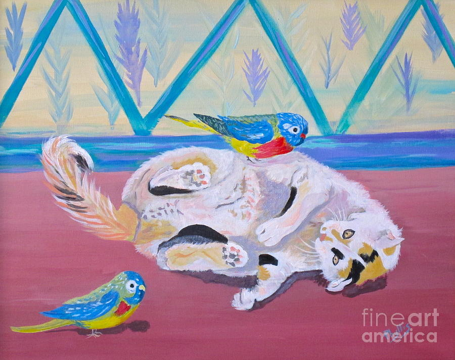 Calico Painting - Calico And Friends by Phyllis Kaltenbach