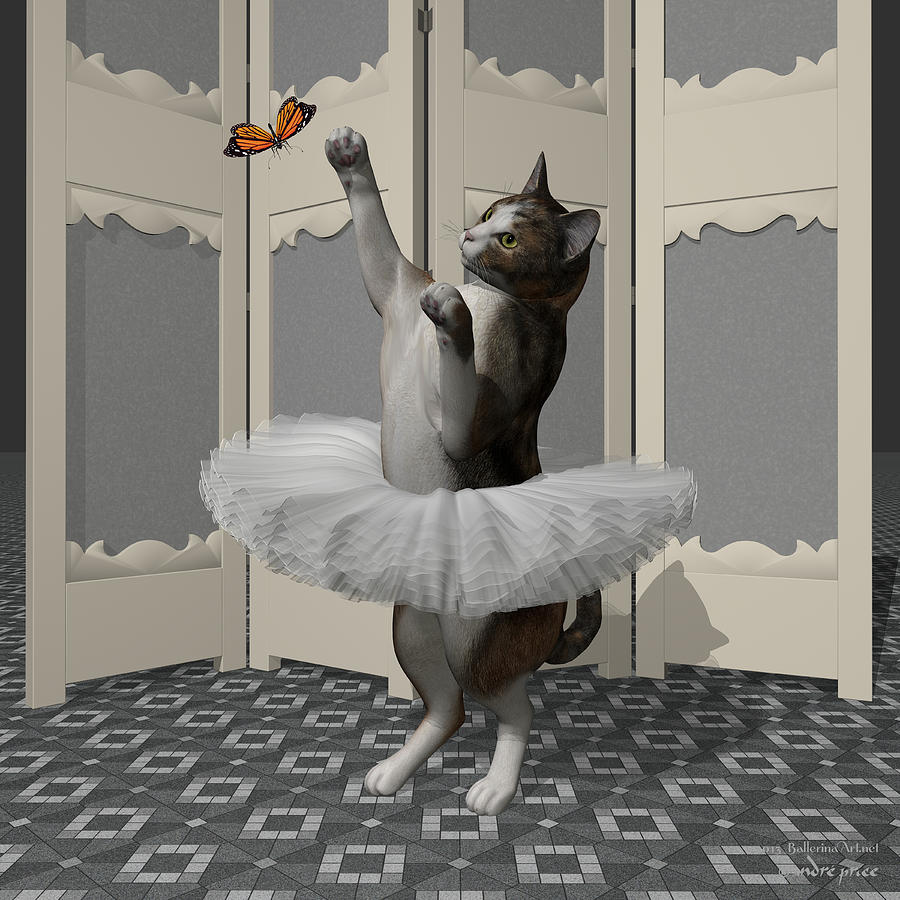 Ballet Digital Art - Calico Ballet Cat On Paw-te by Andre Price