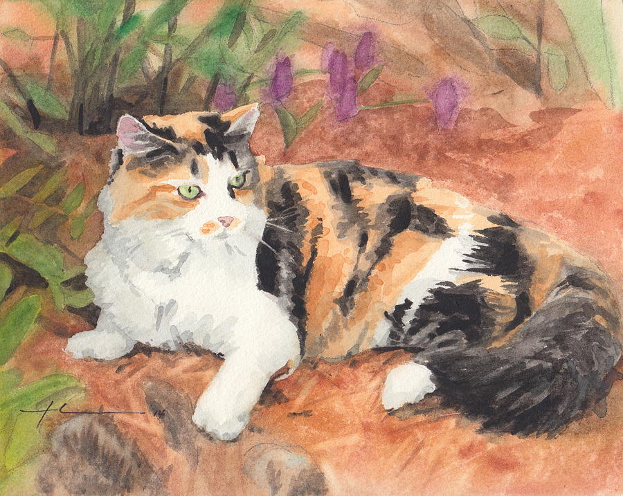Calico Cat In Garden Watercolor Painting Painting by Mike Theuer