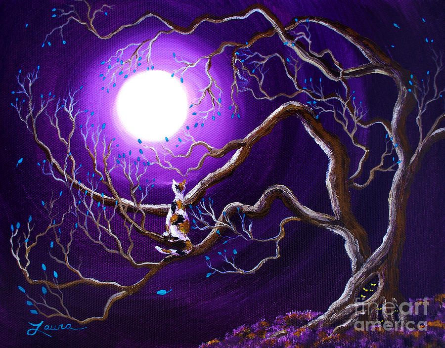 Landscape Painting - Calico Cat In Haunted Tree by Laura Iverson