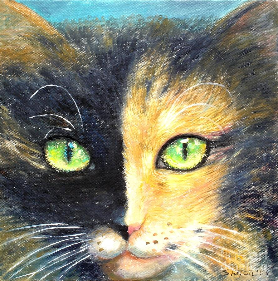 Pets Painting - Calico Cat by Shijun Munns