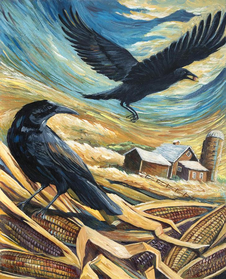 Crows Painting - Calico Corn by Paula McHugh