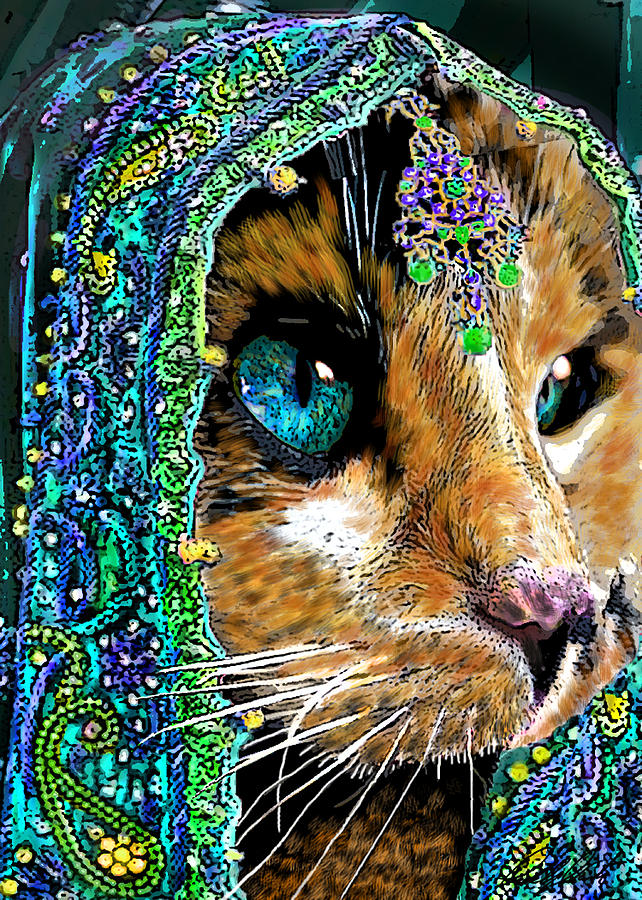 Calico Indian Bride Cats In Hats Painting