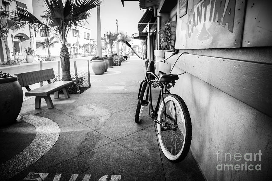 America photograph california beach cruiser bike black and white photo by paul velgos