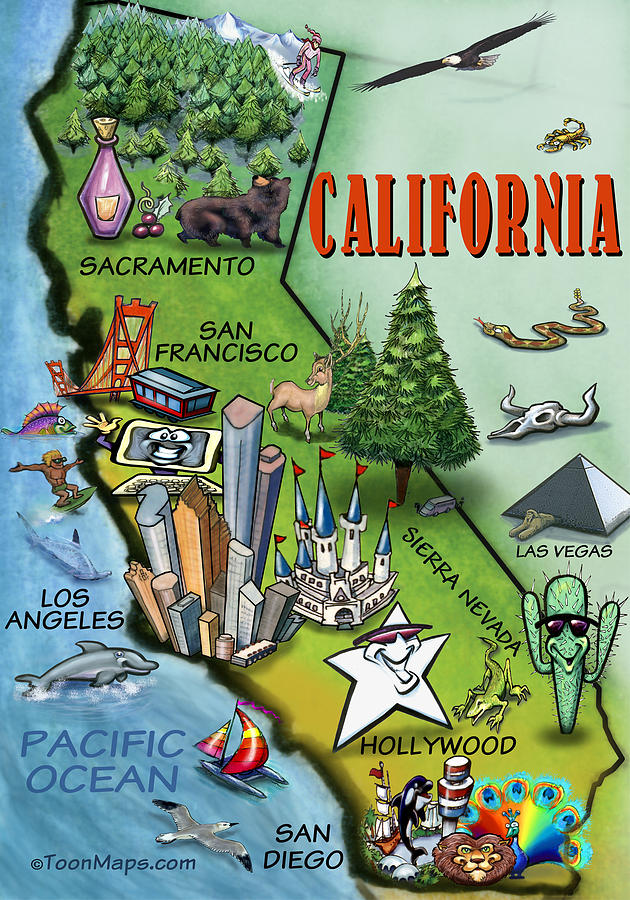 california cartoon map digital art by kevin middleton california cartoon map by kevin middleton