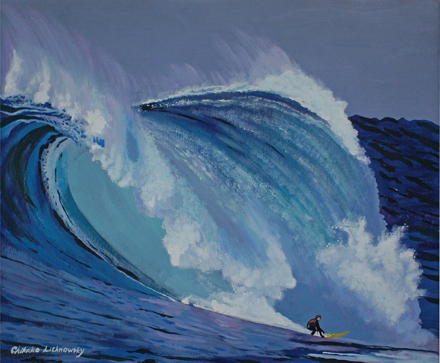 Surfing Painting - California by Chikako Hashimoto Lichnowsky