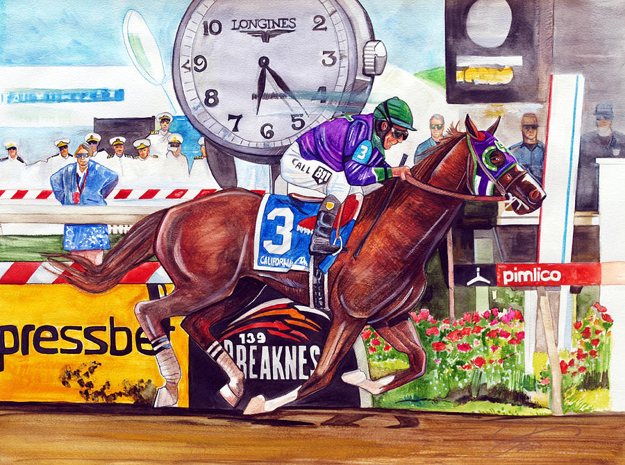 California Chrome Painting - California Chrome Wins The Preakness Stakes by Dave Olsen