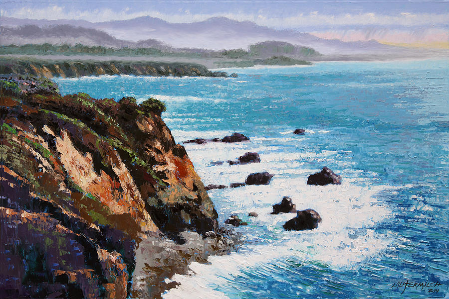 Ocean Painting - California Coastline by John Lautermilch