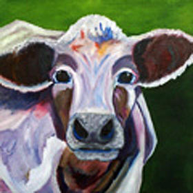 Canvas Painting Painting - California Cow by Bonnie Rodgers