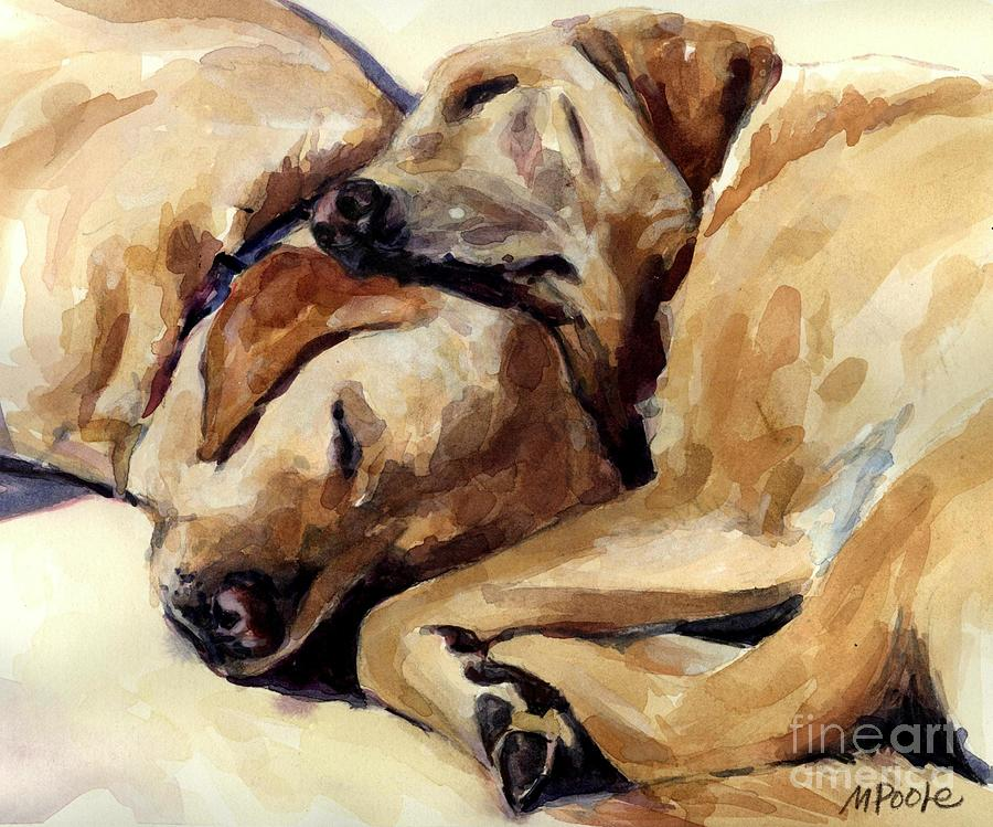 Yellow Labrador Retrievers Painting - California Dreamers by Molly Poole