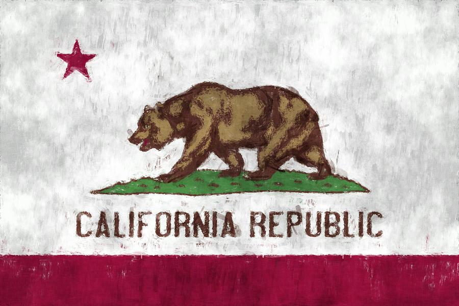California Digital Art - California Flag by World Art Prints And Designs