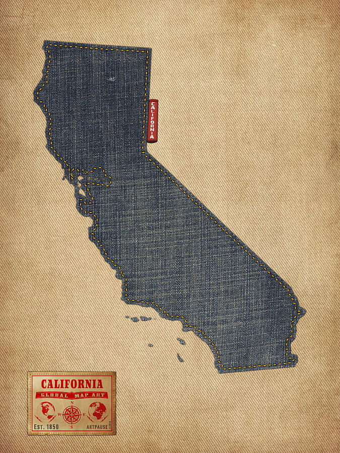 United States Map Digital Art - California Map Denim Jeans Style by Michael Tompsett