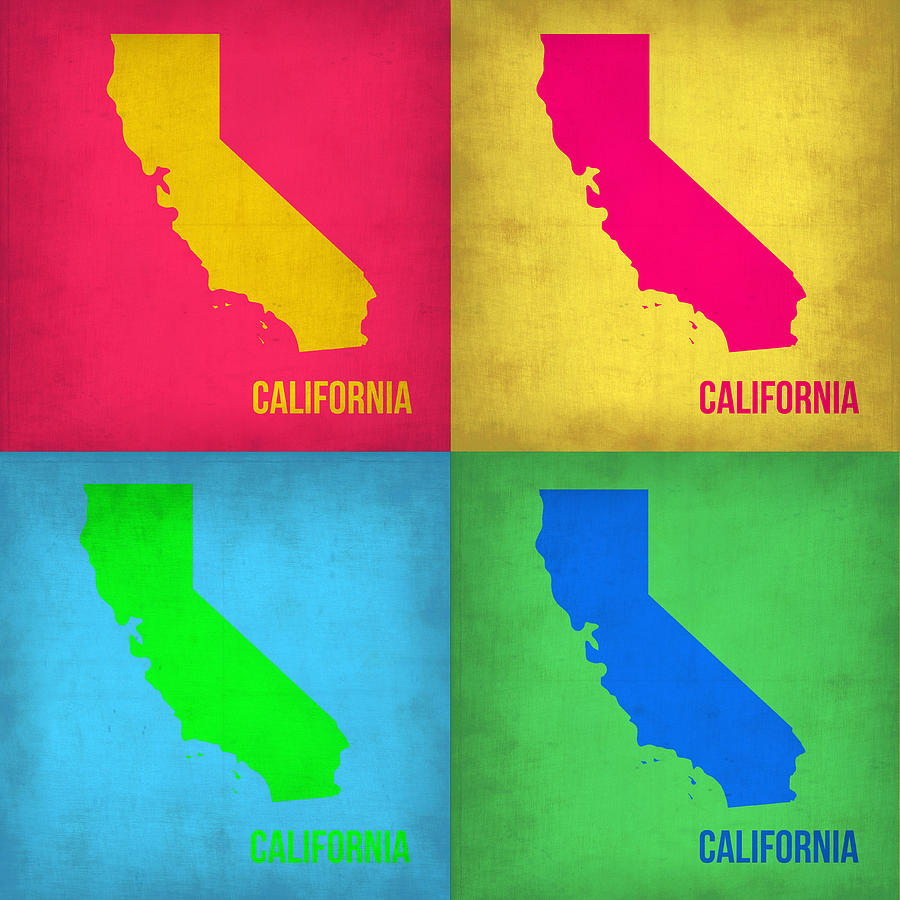 California Pop Art Map 1 Painting by Naxart Studio