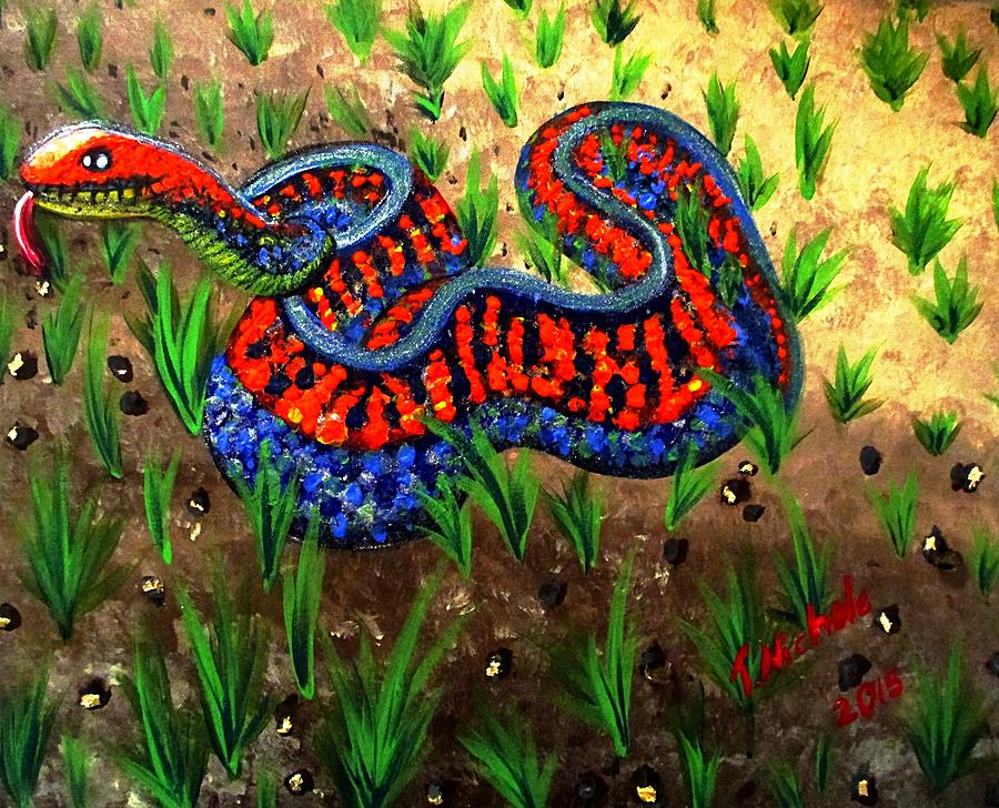 California Red Sided Garter Snake Painting By Teressa Nichole