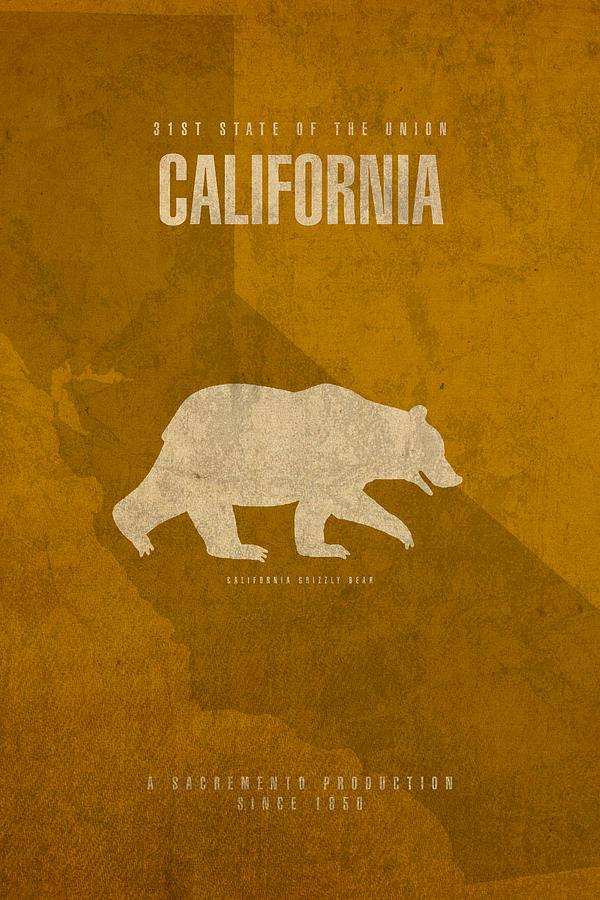 California State Facts Minimalist Movie Poster Art Mixed