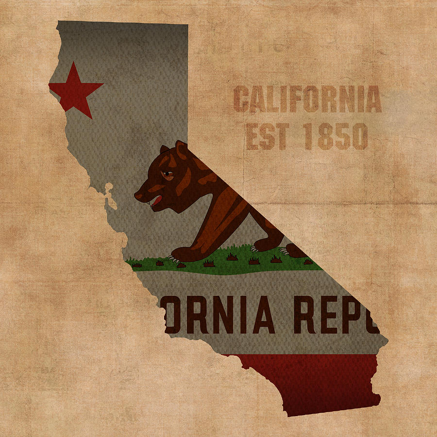 California state flag map outline with founding date on for Designers art of california