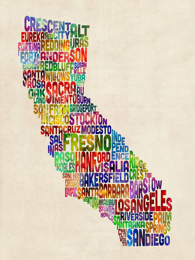California Digital Art - California Typography Text Map by Michael Tompsett