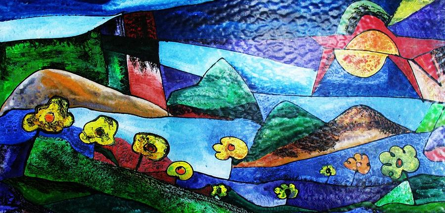 Abstract - Impressionist  - African Artist  Glass Art - California Vine Country  by Aziz Diagne