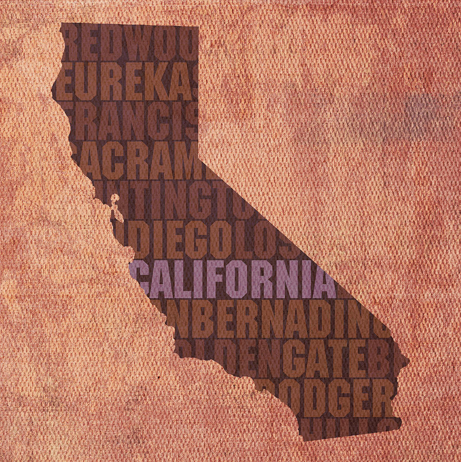 California Word Art State Map On Canvas Mixed Media by Design Turnpike